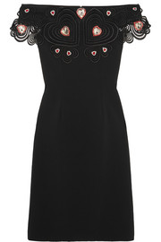 Liz Taylor embellished guipure lace-trimmed stretch-crepe dress