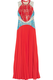 Lace and pleated chiffon gown
