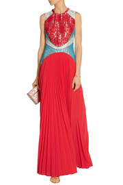 Christopher Kane Lace and pleated chiffon gown