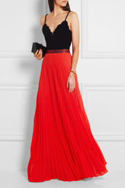 Pleated stretch-satin maxi skirt
