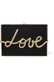 Love resin and gold-tone box clutch