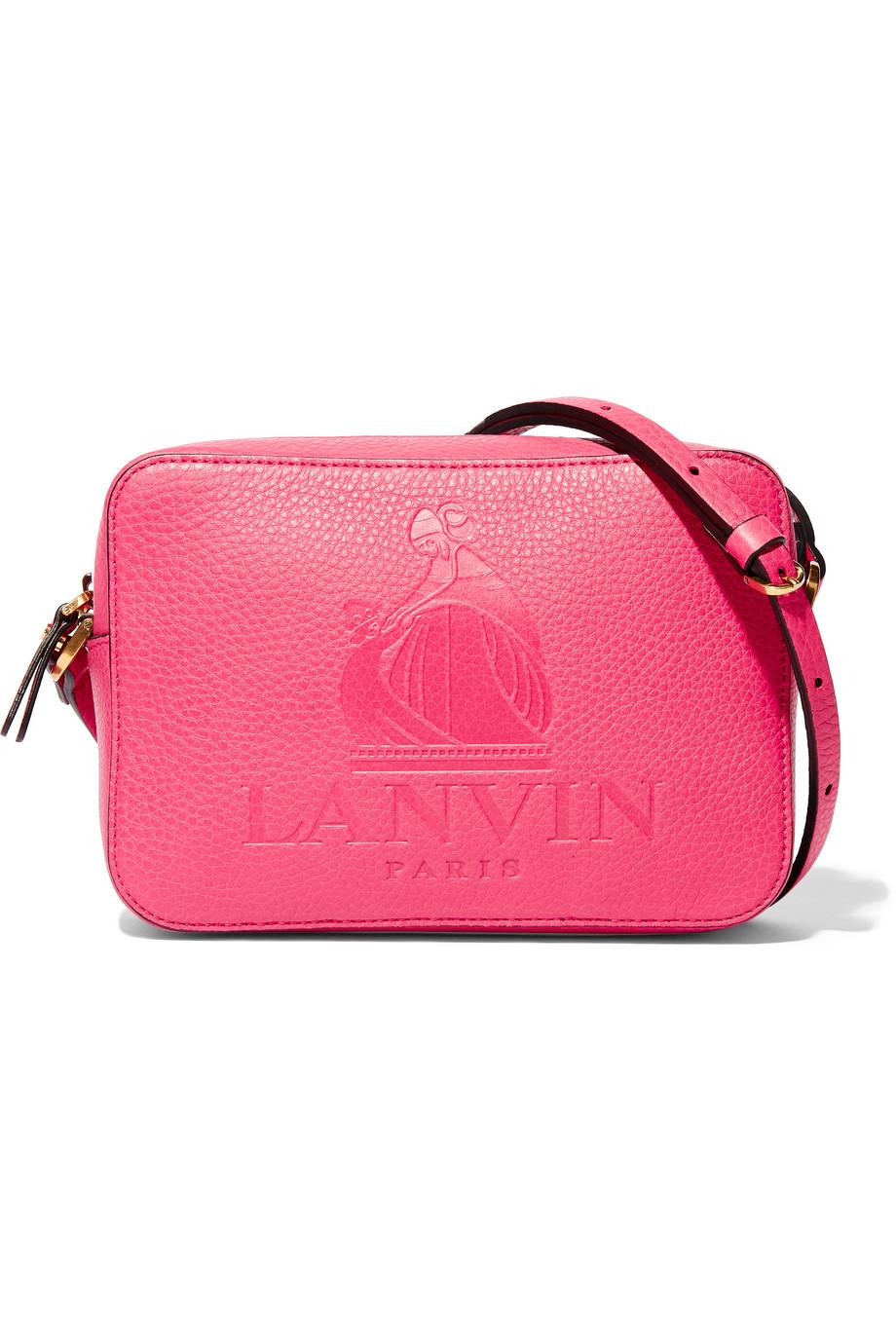 Lanvin Nomad Embossed Textured-Leather Shoulder Bag, Pink, Women's