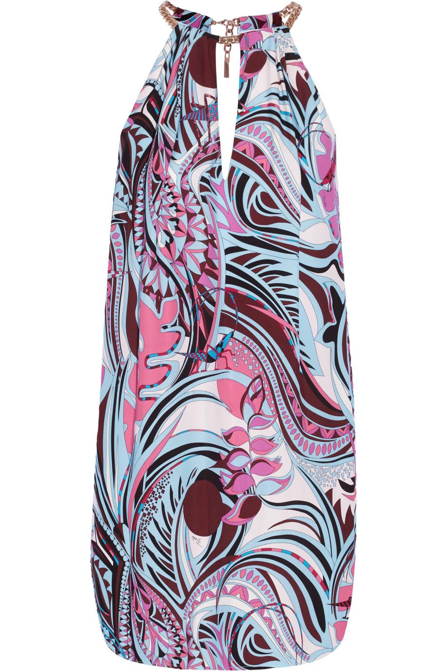 Emilio Pucci Printed Cady Mini Dress, Lavender/Sky Blue, Women's - Printed, Size: 42