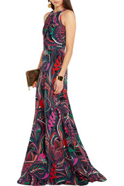 Printed silk crepe de chine gown
