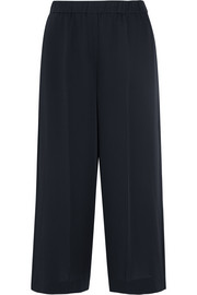 Cropped silk-satin wide-leg pants