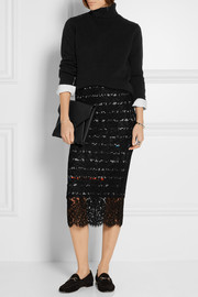 Ilaria cotton-blend lace skirt