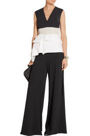 Renae paneled cady and cotton-blend poplin top