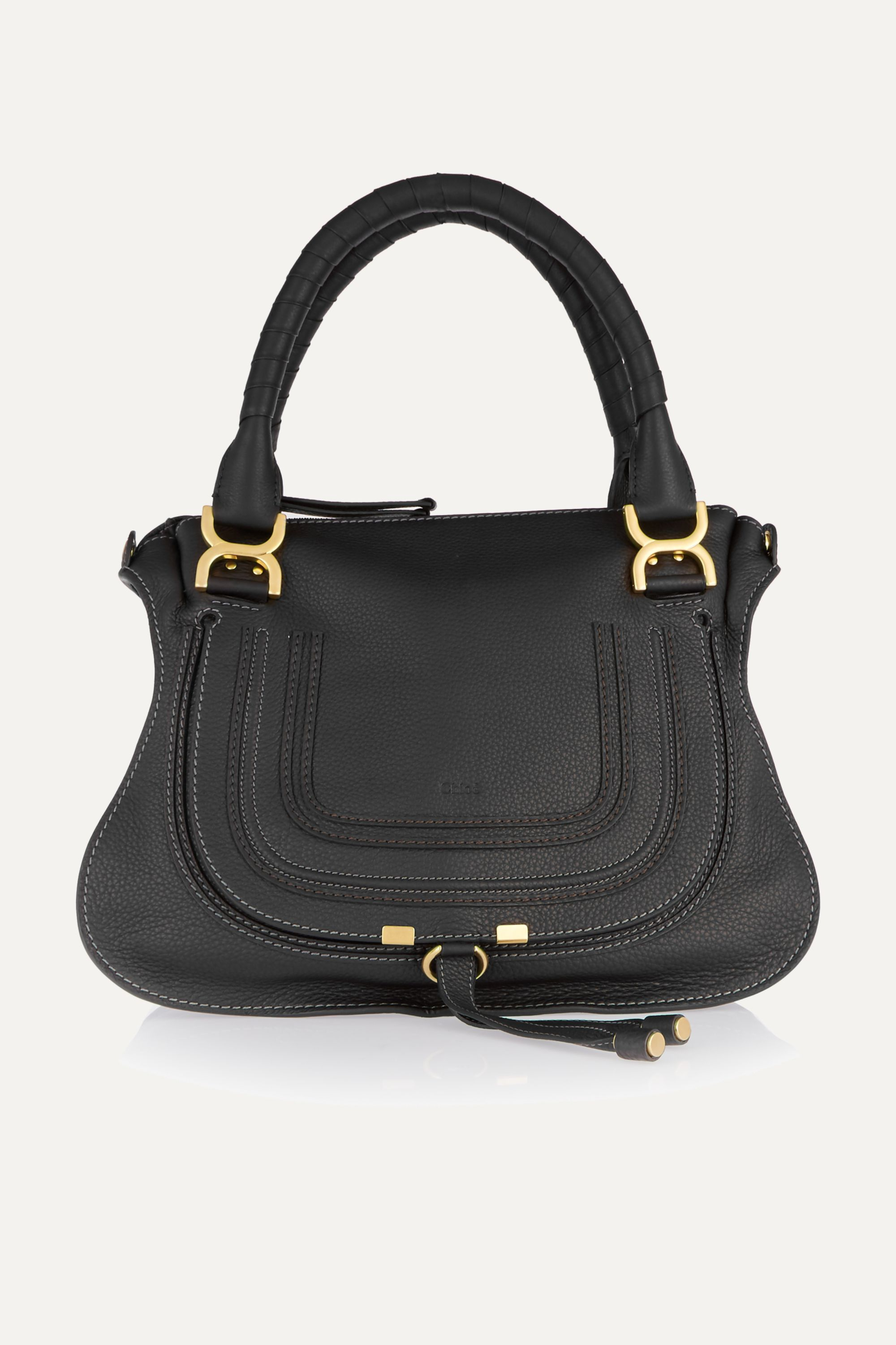 Chloé Marcie Medium Textured-leather Shoulder Bag In Black