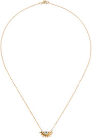 Half Sun gold-plated cubic zirconia necklace