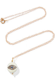 Gold-plated, enamel, diamond and sapphire necklace