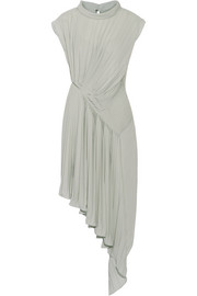 Asymmetric pleated georgette dress