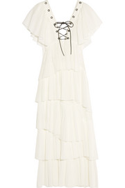 Tiered plissé-cotton maxi dress