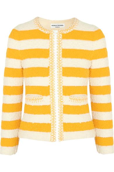 Sonia Rykiel - Striped Bouclé-knit Jacket - Marigold