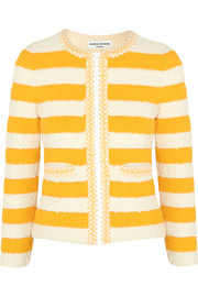 Striped bouclé-knit jacket