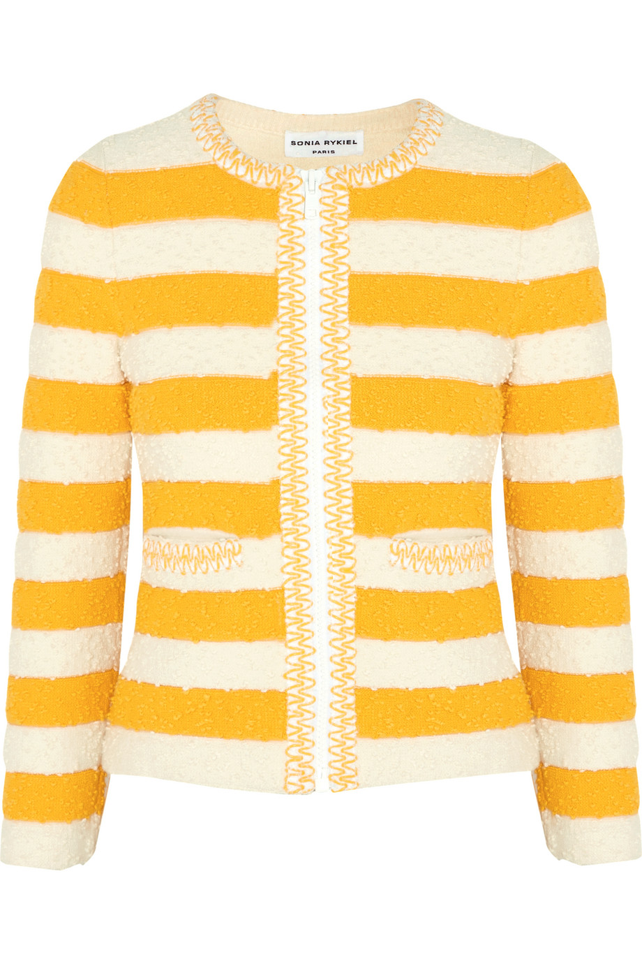 Sonia Rykiel Striped Bouclé-Knit Jacket, Marigold/White, Women's, Size: 38