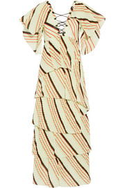 Sonia Rykiel Tiered striped cotton maxi dress