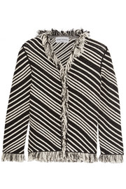 Fringed striped cotton-blend jacket