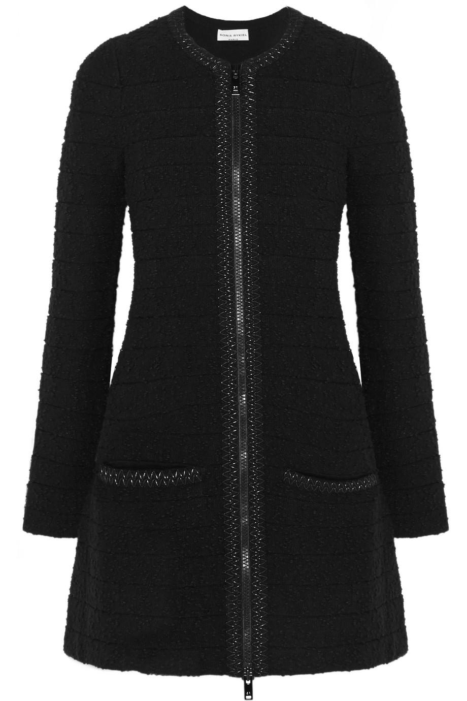 Sonia Rykiel Stretch-Bouclé Coat, Black, Women's, Size: 36
