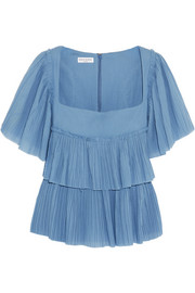 Sonia Rykiel Tiered plissé-cotton top