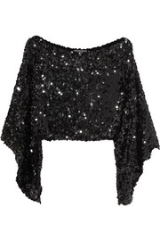 Cropped asymmetric sequined stretch-knit top