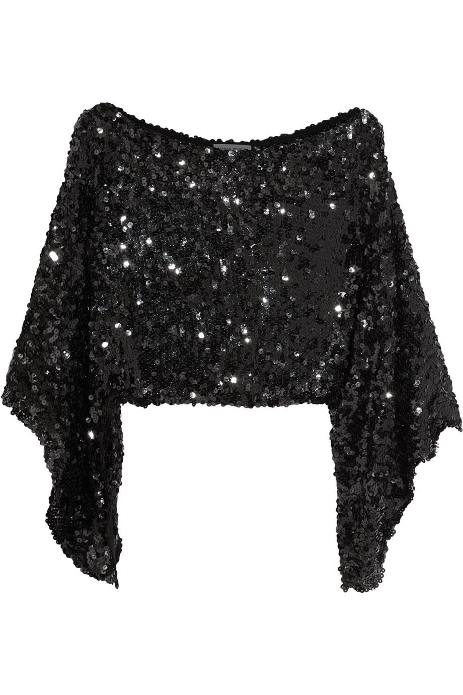 Sonia Rykiel Cropped Asymmetric Sequined Stretch-Knit Top, Black, Women's, Size: One size