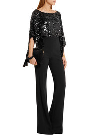 Sonia Rykiel Cropped asymmetric sequined stretch-knit top