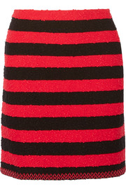 Sonia Rykiel Faux leather-trimmed striped stretch-bouclé mini skirt