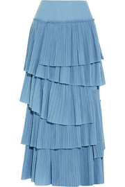 Tiered plissé-cotton maxi skirt
