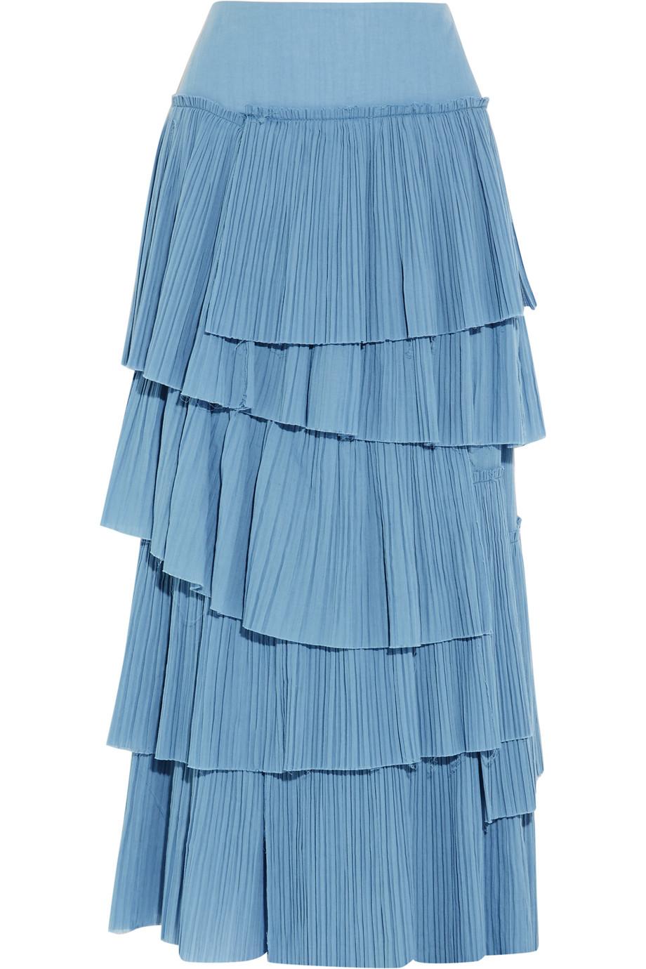 Sonia Rykiel Tiered Plissé-Cotton Maxi Skirt, Blue, Women's, Size: 36