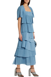 Sonia Rykiel Tiered plissé-cotton maxi skirt