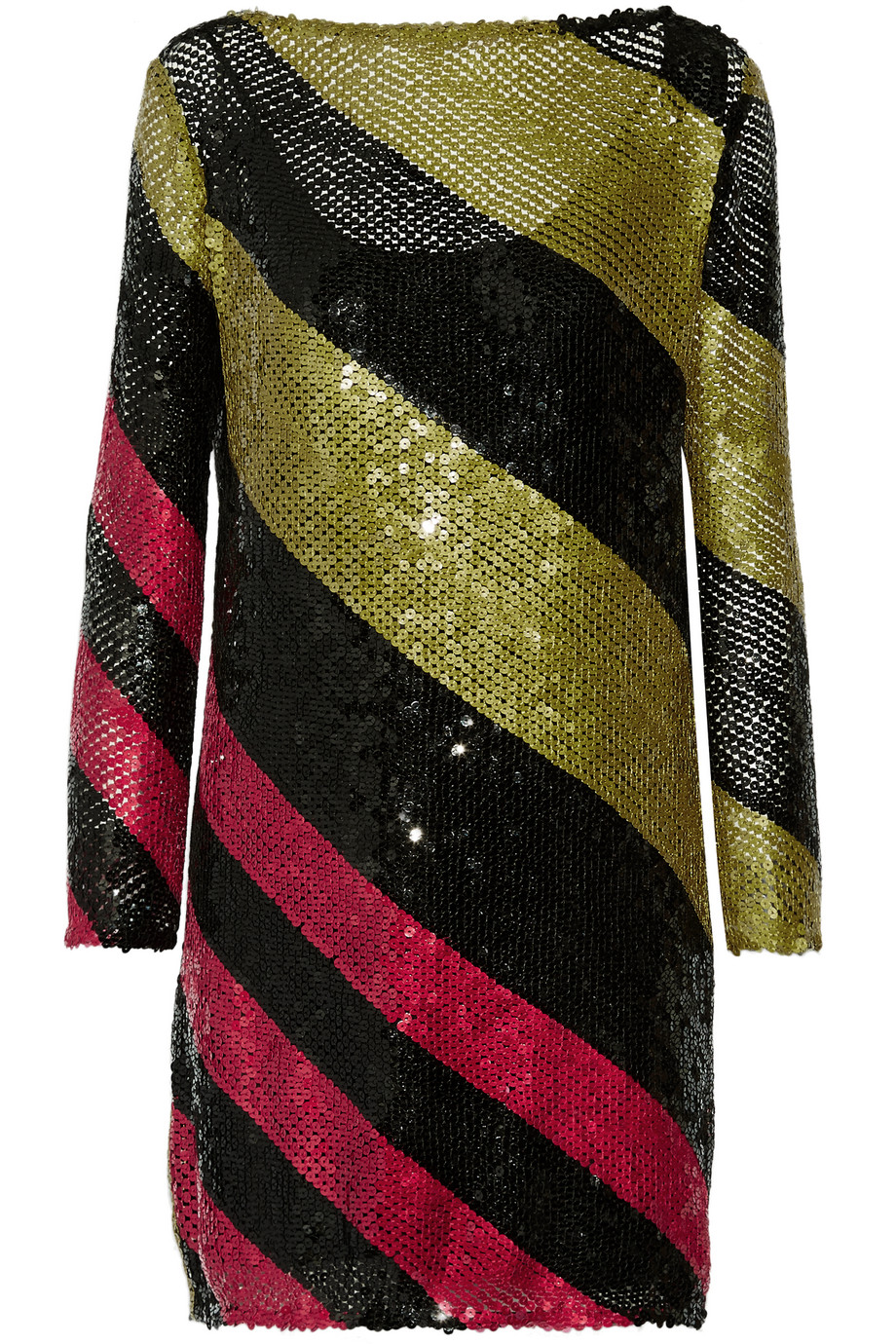 Sonia Rykiel Sequined Striped Knitted Mini Dress, Black/Metallic, Women's - Striped, Size: 40