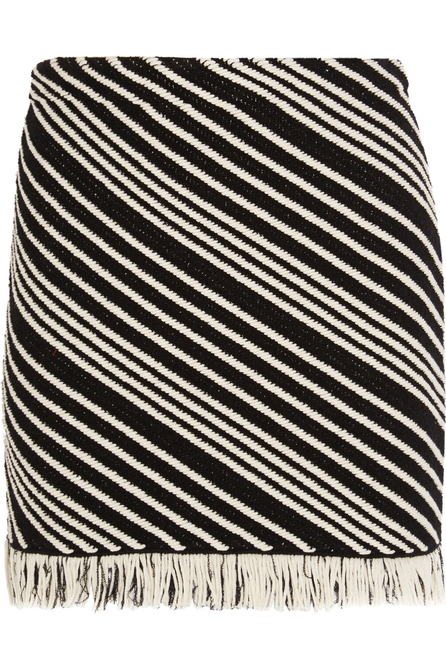 Sonia Rykiel Fringed Striped Cotton-Blend Mini Skirt, Black, Women's