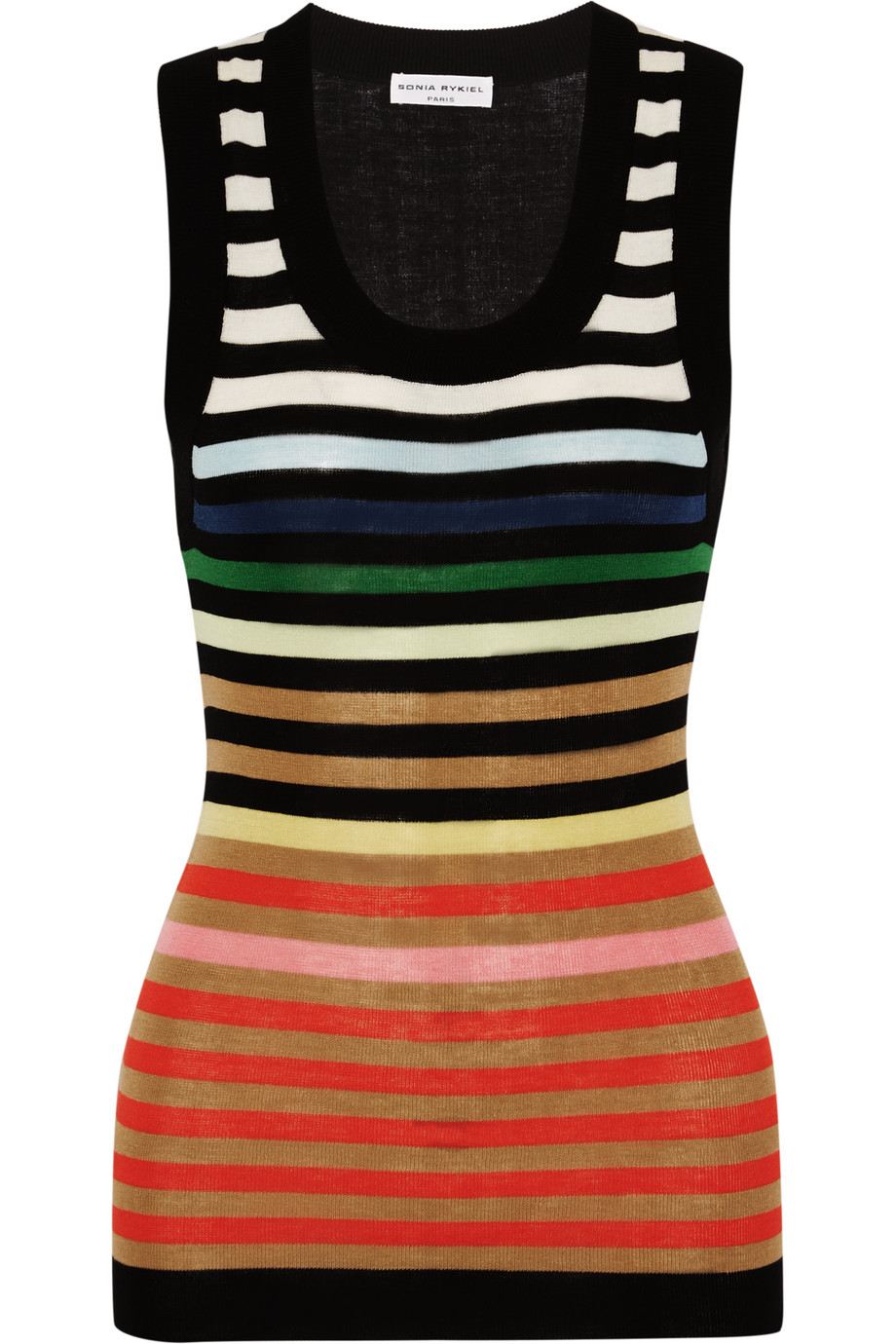 Sonia Rykiel Striped Cotton and Silk-Blend Tank, Black/Orange, Women's, Size: XL