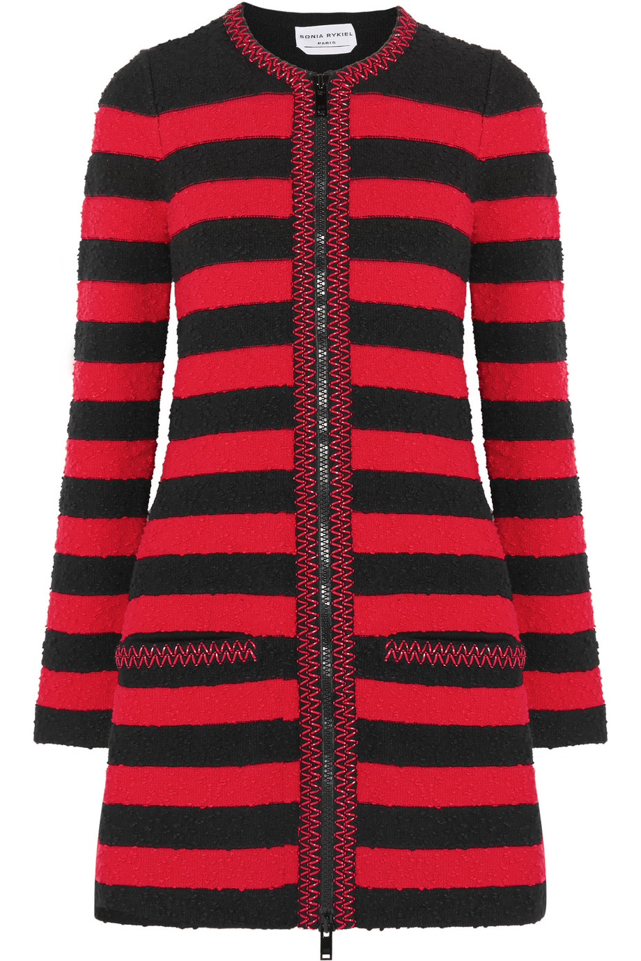 Sonia Rykiel Embellished Striped Stretch-Bouclé Coat, Red/Black, Women's, Size: 38