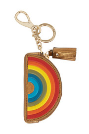 Metallic textured-leather keychain