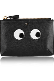 Eyes small embossed textured-leather pouch