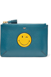 Smiley small textured-leather pouch