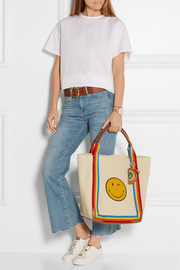 Anya Hindmarch Wink Pont leather-trimmed canvas tote