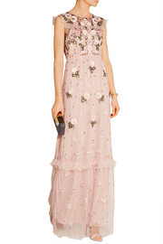 Organza-trimmed embellished tulle maxi dress