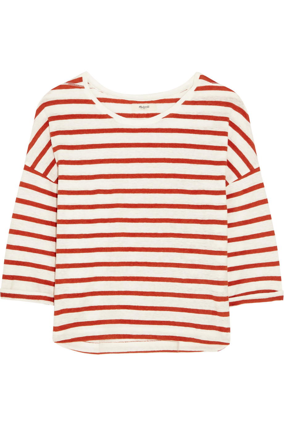 Madewell Lisbon Striped Hemp and Cotton-Blend Top, Cream/Brick, Women's, Size: XS