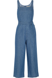Cotton and linen-blend chambray jumpsuit