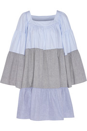 Patchwork cotton-poplin dress