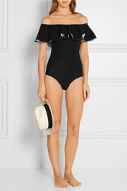 Lisa Marie Fernandez Mira off-the-shoulder ruffled swimsuit