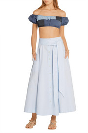 Patchwork cotton-chambray midi skirt