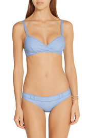 Lisa Marie Fernandez Yasmin stretch-chambray triangle bikini