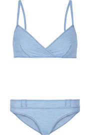 Yasmin stretch-chambray triangle bikini