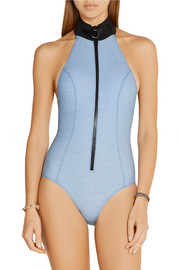 Lisa Marie Fernandez The Maillot neoprene-trimmed stretch-chambray halterneck swimsuit