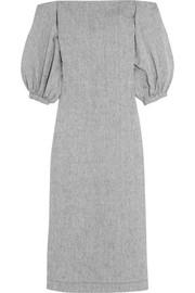 Off-the-shoulder slub linen-chambray maxi dress