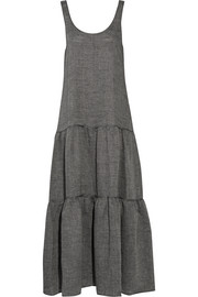 Tiered linen-chambray maxi dress