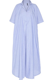 Two-tone cotton-chambray kaftan